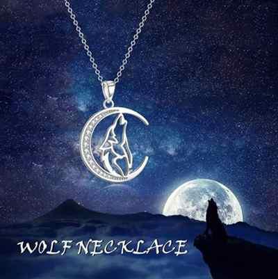 Wolf Mond Kette Damen