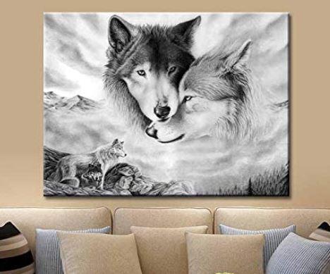 Wolfspaar auf Leinwand