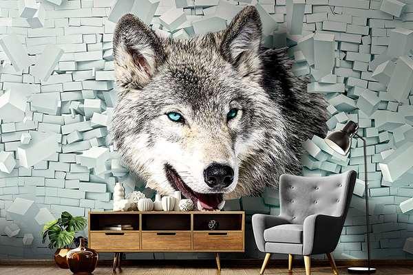 Wolf Wandbild 3d